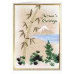 Bambú y tarjeta de felicitación japonesa del navid