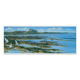 Bamburgh Castle with Lindisfarne Poster