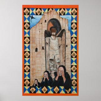 Bamiyan Buddha and Weeping Women Poster