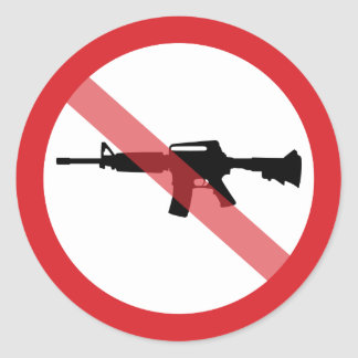 Ban Assault Rifles - No Symbol Red Line Classic Round Sticker