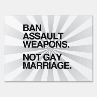 BAN ASSAULT WEAPONS NOT GAY MARRIAGE SIGNS