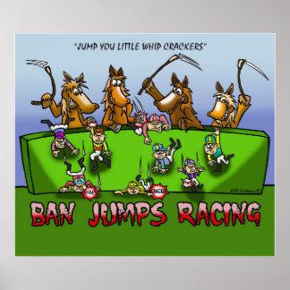 BAN HORSE JUMPS RACING POSTER