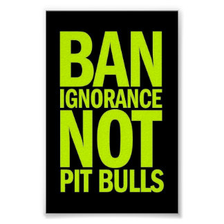 BAN IGNORANCE NOT PIT BULLS DOGS CAUSES SHOUTOUTS POSTER