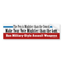 Ban Military-Style Assault Weapons Bumper Sticker