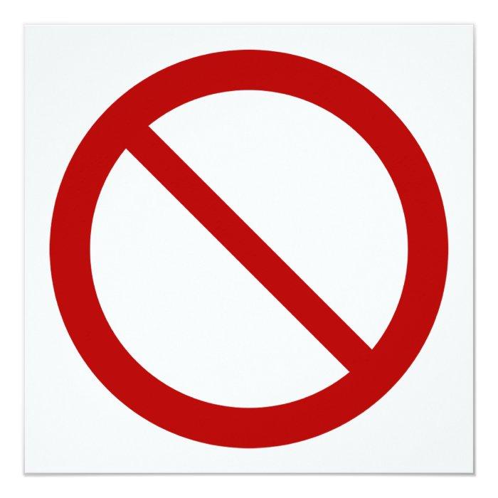 Ban or Prohibit Symbol Card