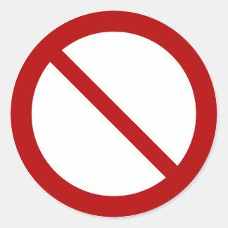 Ban or Prohibit Symbol Classic Round Sticker