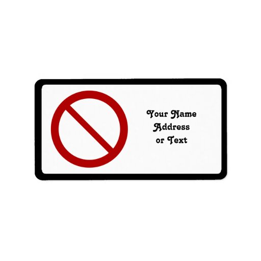 Ban or Prohibit Symbol Personalized Address Labels