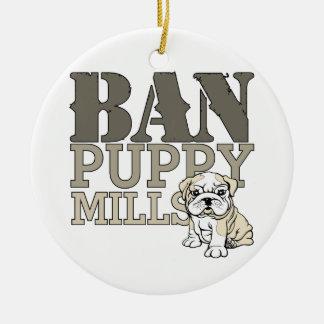 Ban Puppy Mills Ceramic Ornament