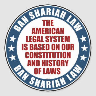 Ban Shariah Law Classic Round Sticker