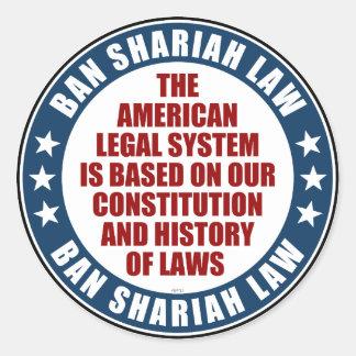 Ban Shariah Law Classic Round Sticker