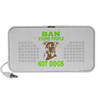 BAN STUPID PEOPLE NOT DOGS GREEN iPod SPEAKERS