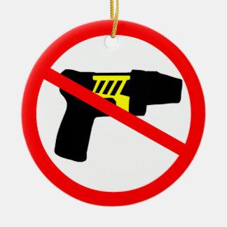 Ban tazers symbol. christmas tree ornaments