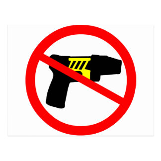 Ban tazers symbol. postcard