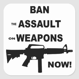 Ban (the) Assault (on) Weapons Now Square Sticker