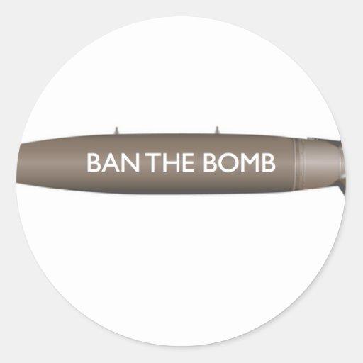 BAN THE BOMB ROUND STICKER