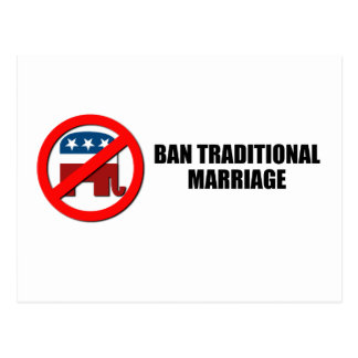 Ban Traditional Marriage Postcard