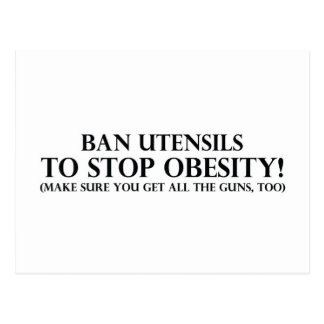 Ban Utensils to Stop Obesity Postcard