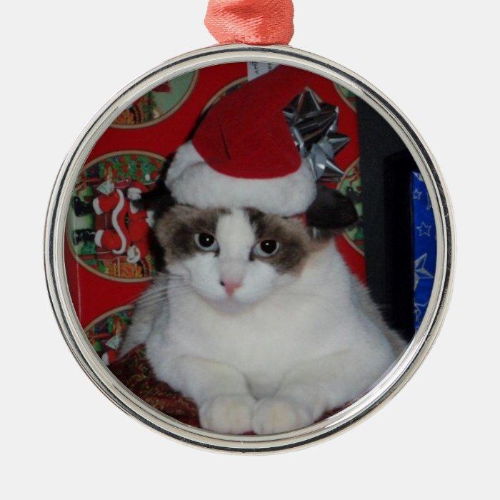ban w santy hat metal ornament