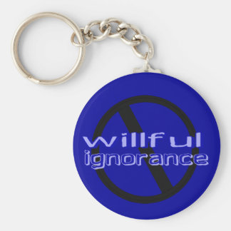 Ban Willful Ignorance Keychain (blue letters)
