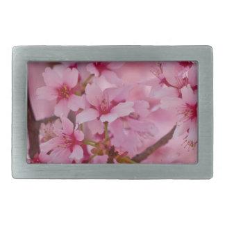 Bañado en flores de cerezo japonesas rosadas hebillas cinturon rectangulares