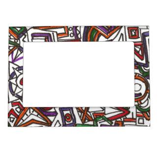 Banal colorido geométrico - dibujo abstracto de la marcos magneticos de fotos