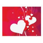 Banal rojo de los corazones blancos postal