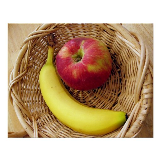 Banana and Apple in a Basket Poster
