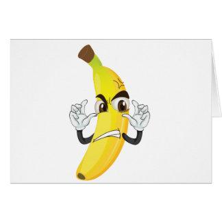 banana angry smiley greeting card