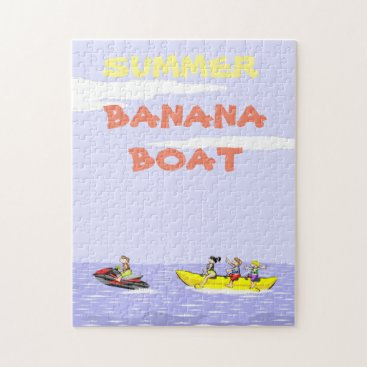 Beach Themed Banana boat group of friends having fun on summer jigsaw puzzle