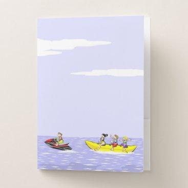 Beach Themed Banana boat group of friends having fun on summer pocket folder