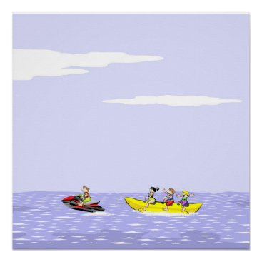 Beach Themed Banana boat group of friends having fun on summer poster