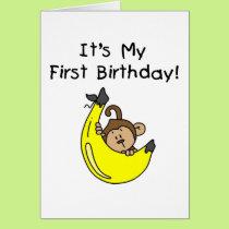 Banana - Boy Monkey 1st Birthday Card