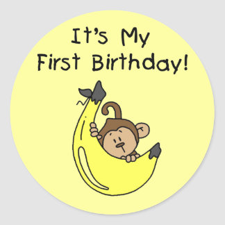 Banana - Boy Monkey 1st Birthday Classic Round Sticker