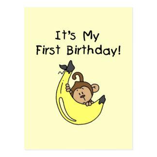 Banana - Boy Monkey 1st Birthday Postcard