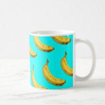banana, funny, cool, pattern, cute, pop art, geeky, humor, fruit, funny pattern, humorous, fun, pop, art, emoji, mug, Caneca com design gráfico personalizado