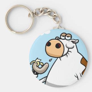 Banana Cow Basic Round Button Keychain