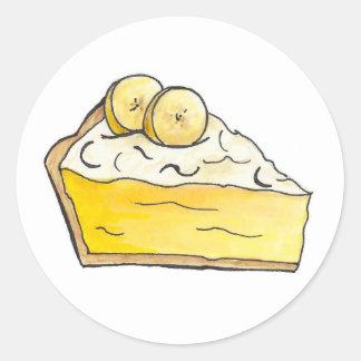 Banana Cream Pie Slice Dessert Food Foodie Dessert Classic Round Sticker