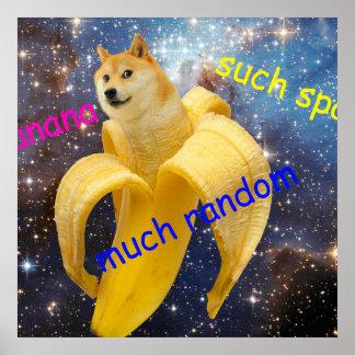 banana   - doge - shibe - space - wow doge poster