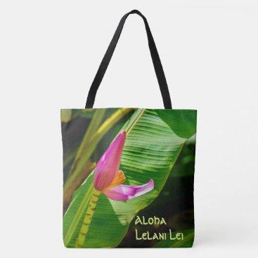 Beach Themed Banana Flower Hawaiian Monogram Beach Bag