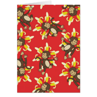 Banana Flower Monkey Notecards Stationery Note Card