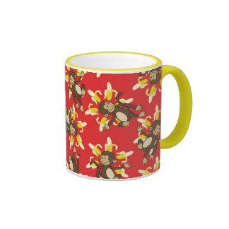 Banana Flower Monkeys Two-Tone Mug