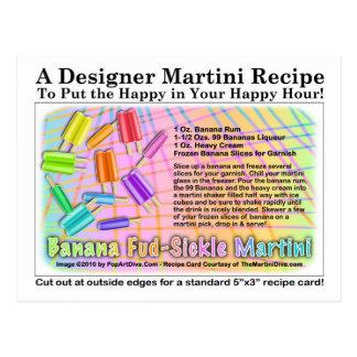 Banana Fud-Sickle Martini Recipe Card Postcard