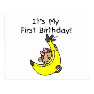 Banana - Girl Monkey 1st Birthday Postcard