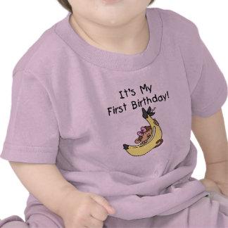 Banana - Girl Monkey 1st Birthday Tee Shirts