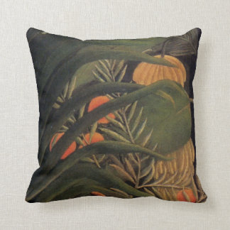 Banana Jungle with Oranges Palm Leaves Rousseau 1 Throw Pillow