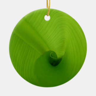 Banana Leaf Double-Sided Ceramic Round Christmas Ornament