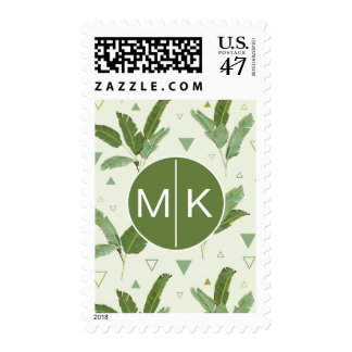 Banana Leaf With Triangles | Monogram Postage Stamp