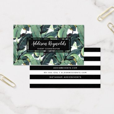 Professional Business Banana Leaves Palm Tree Tropical Business Card