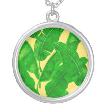 Banana leaves silver plated necklace