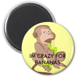 banana-monkey-auto, IM CRAZY FOR BANANAS Magnet